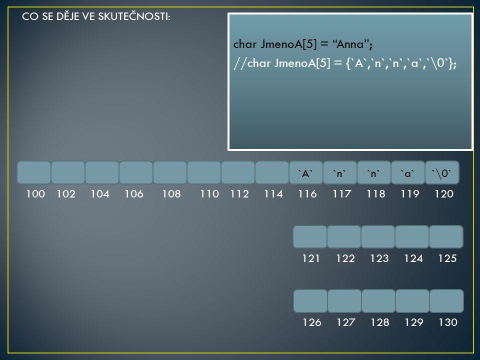 char JmenoA[5] = Anna ; //char JmenoA[5] = {`A`,`n`,`n`,`a`,`\0`};